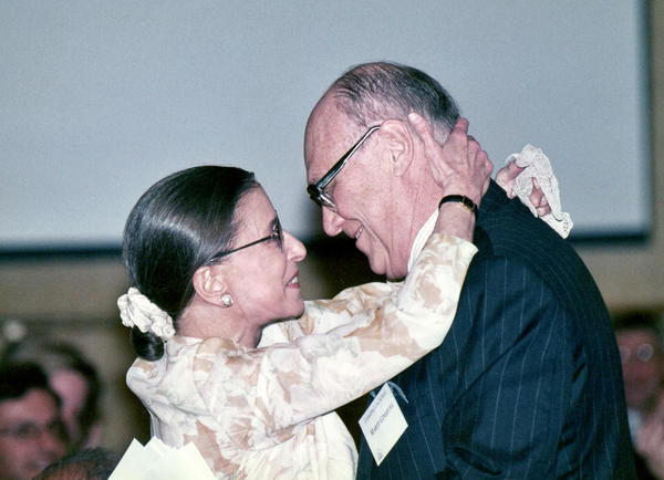 Justice Ginsburg and her husband, Marty, embrace while attending an event.