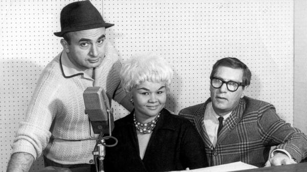 From left to right, Chess Records co-founder Phil Chess, R&B singer Etta James and record producer Ralph Bass in Chicago at Chess Records Studios in 1960.
