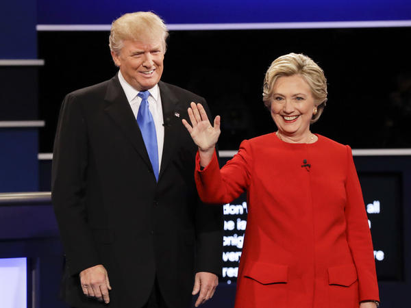 Donald Trump and Hillary Clinton are introduced during the presidential debate at Hofstra University in Hempstead, N.Y., on Sept. 26.
