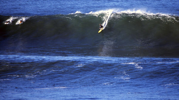 "Sarah Gerhardt surfs Mavericks in northern California.<a href=""http:// www.otwfront.com"" target=""_blank""></a>"