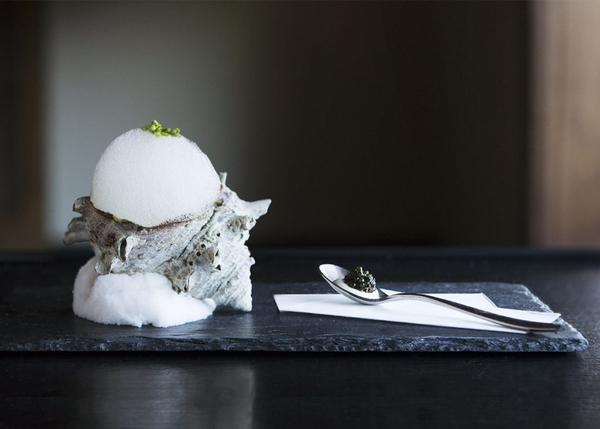 Dashi foam served on a conch shell at N/Naka. Delicate plating involving elements of nature are part of the kaiseki experience.