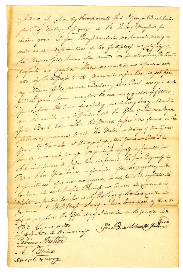 Maryland slaveowner George Burchhartt granted freedom to his slave in a letter from 1793.