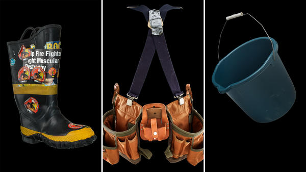 """(Left) A firefighter's boot used to collect money from motorists for the """"Fill the Boot"""" campaign for muscular dystrophy which started in 1954. (Center) A Habitat for Humanity belt was used by a volunteer in rebuilding homes in Louisiana after Hurricane Katrina. (Right) Bucket used by Jeanette Senerchia in 2014 launching the viral ALS Ice Bucket Challenge."""