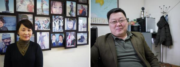 (Left) Bulgamaa Densambuu, a researcher for Green-Gold Project, recently completed a survey showing that 65 percent of Mongolia's rangelands have been degraded as a result of overgrazing and climate change. (Right) Gankhuyag Nyam-Ochir directs the Mongolian Association of Pastureland User Groups. He is convincing herders to trade their goats for camels and yaks, which are easier on the grasslands.