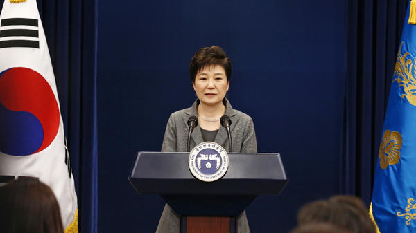 South Korean President Park Geun-hye is shown during a Nov. 29 televised address. The country's first female leader was impeached on Friday.