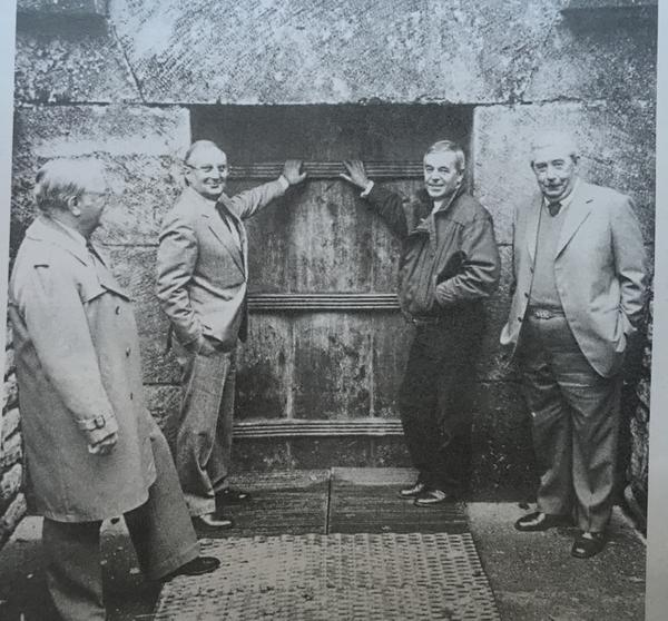 These four men found the Lascaux cave paintings in 1940. They returned to the cave entrance for this 1986 photo. From left to right, they are Georges Agniel, Simon Coencas, Jacques Marsal and Marcel Ravidat.
