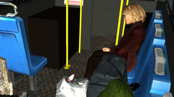 Stanford University's Virtual Human Interaction Lab is studying whether virtual reality makes people more empathetic to homeless people than other forms of media do. This scene simulates a woman sleeping on a bus.