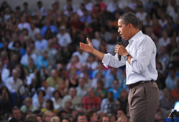 President Obama speaks during a town hall meeting on health insurance in Grand Junction, Colo., on Aug. 15, 2009.