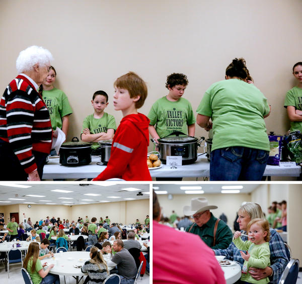Scenes from the Valley Victors 4-H Club's annual soup supper, featuring 32 crockpots — filled with homemade soups. (Top) Club members serve the soup. (Bottom left) The room. (Bottom right) Journey, 18 months, tries the dessert.