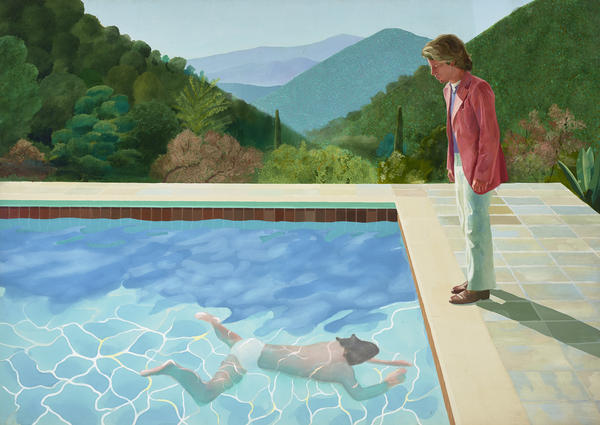 A major retrospective at Tate Britain showcases more than 60 years of Hockney's art. Above, is his 1972 work,<em> Portrait of an Artist (Pool with Two Figures).</em>