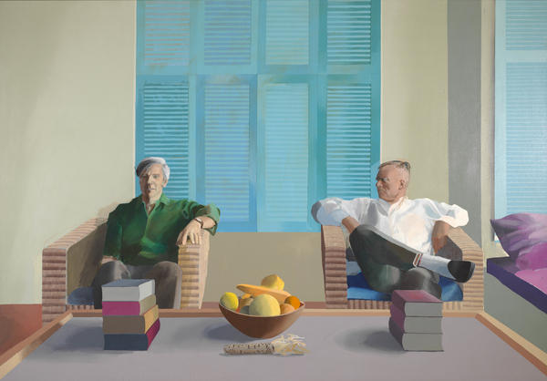 Hockney made this 1968 portrait of author Christopher Isherwood and artist Don Bachardy in their Santa Monica home.