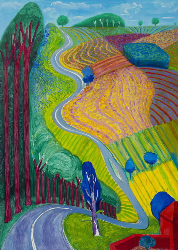 Hockney's paintings are full of vivid, saturated colors. Above is his 2000 work,<em> Going Up Garrowby Hill.</em>