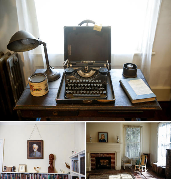 Scenes from Rowan Oak. (Top) Faulkner's portable Underwood typewriter on a small table given to him by his mother. (Bottom left) The library is lined with portraits of four generations of Faulkner men, all painted by Faulkner's mother. (Bottom right) Jill Faulkner, William's daughter, had the front bedroom upstairs.