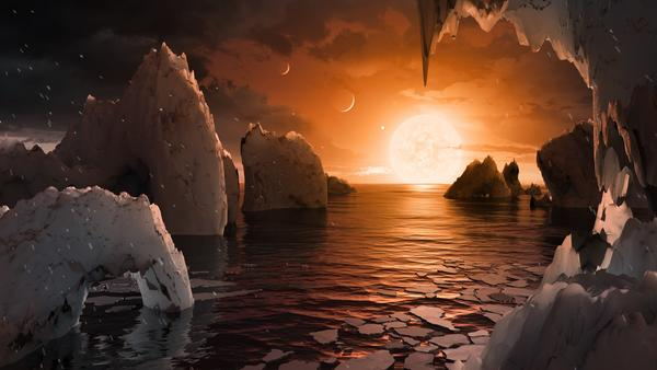 This artist's rendering shows what one of the seven planets, TRAPPIST-1f, might look like.
