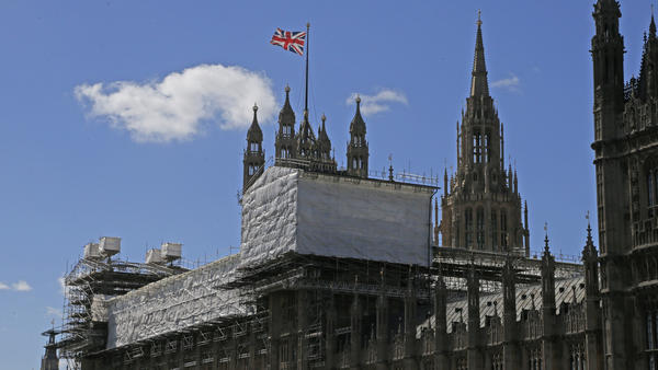 Scaffolding surrounds a section of the Houses of Parliament in London in September 2016.