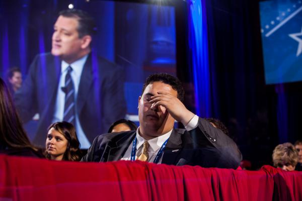 Attendees watch Texas Sen. Ted Cruz and Mark Levin engage in a conversation about the constitution.