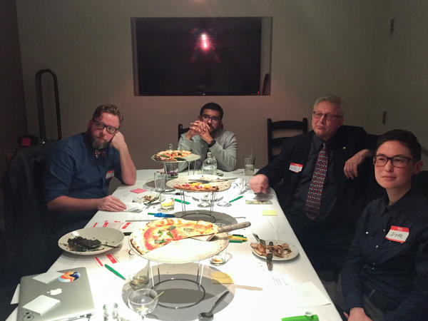 Make America Dinner Again guests (from left to right) Nick Tucker, Walter Rodriguez, Walt Shjeflo and Dom Brassey listen to views from across the table.