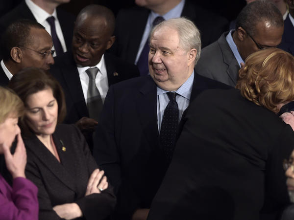 Russian Ambassador Sergey Kislyak arrives before President Trump's address to a joint session of Congress on Tuesday.