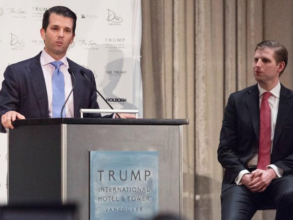 Donald Trump Jr. (left) and Eric Trump attend the inauguration ceremony for the Trump International Hotel and Tower in Vancouver, Canada, on Feb. 28.