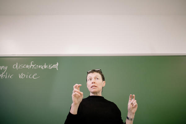 Professor Delia Mellis leads a class offered under the Bard Prison Initiative. The initiative works to provide incarcerated men and women opportunities to earn a Bard College degree while serving their sentences.