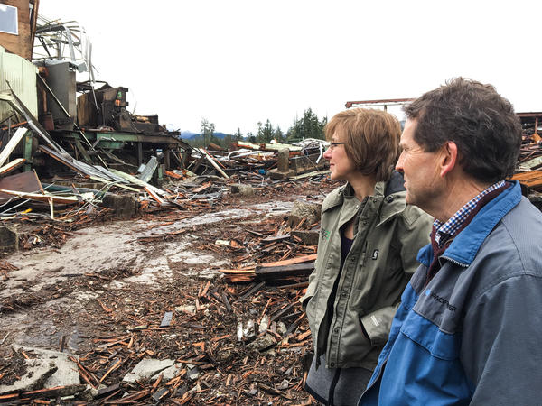 Link and Jennifer Phillippi, co-owners of Rough and Ready Lumber in Cave Junction, Ore. survey the remnants of their saw mill. The mill shut down for good in February 2016. What's not been claimed in auction is being torn down.