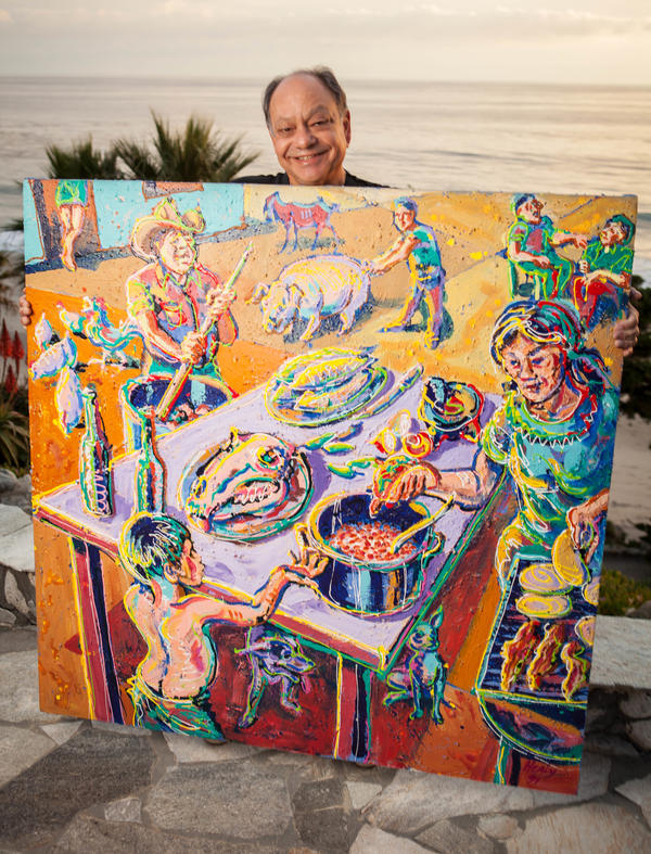 """Cheech Marin describes Wayne Alaniz Healy's <em>Una Tarde en Meoqui</em> as """"Norman Rockwell with jalapenos."""" He says it's his favorite painting in his collection."""