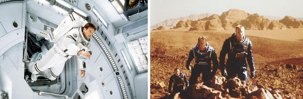 (Left) Gary Sinise plays a man on a rescue mission in <em>Mission to Mars</em>. (Right) Tom Sizemore, Simon Baker and Val Kilmer try to make Mars habitable for humans in <em>Red Planet</em>.