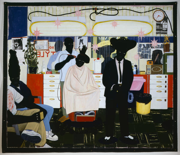 <em>De Style,</em> acrylic and collage on canvas, 1993