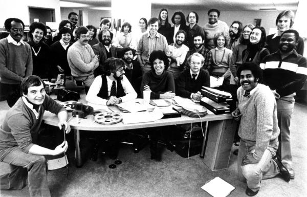 The staff of <em>All Things Considered</em> celebrated the 10th anniversary of the program in 1981.