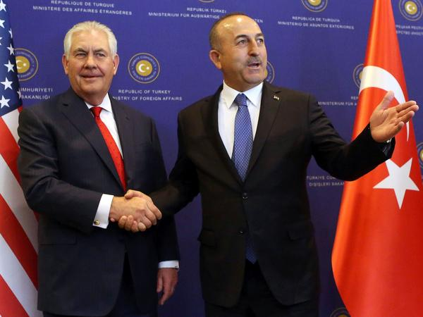 Secretary of State Rex Tillerson appeared at a joint news with Turkish Foreign Minister Mevlut Cavusoglu in Ankara on Thursday.