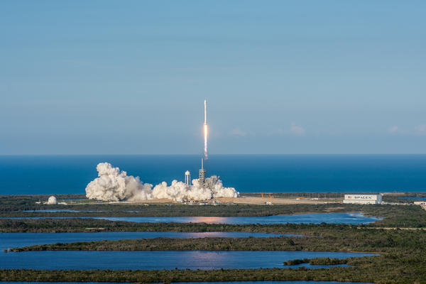 This photo, made available by SpaceX Thursday, shows the company's Falcon 9 rocket launching from Kennedy Space Center's historic Pad 39A in Cape Canaveral, Fla.