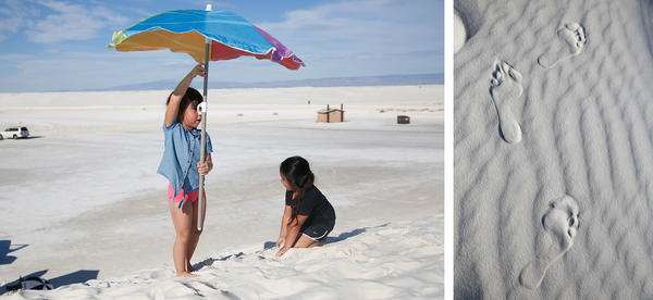 Left: Cassi sets up her umbrella on top of a dune. Right: Footprints in the sand.