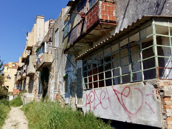 A row of abandoned buildings in northern Lisbon, where drug addicts often hang out, sleep and shoot up.