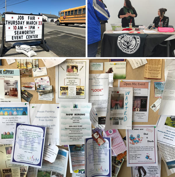 <strong>Top:</strong> A job fair in Milbridge (left) was organized by Maine's Department of Labor and (right) Annie Sokoloski and her daughter Natasha Davis meet with job seekers. Sokoloski is an office manager with Lobster Trap. <strong>Bottom:</strong> Residents leave job postings and other flyers on a bulletin board by the entrance of the local supermarket.