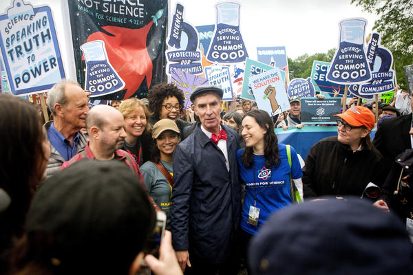 Bill Nye the Science Guy arrives to lead scientists and supporters down Constitution Avenue during the March for Science on Saturday in Washington, D.C. The event is being described as a call to support and safeguard the scientific community.