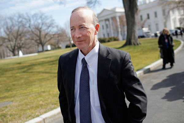 Mitch Daniels, shown leaving the White House after a meeting in 2012, was governor of Indiana in 2011 when the state adopted its voucher program. These days he's the president of Purdue University.