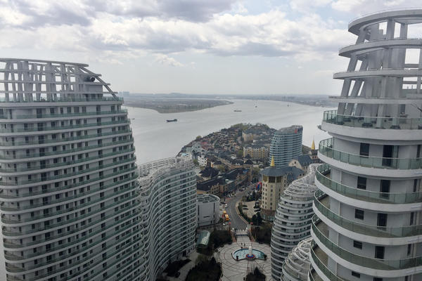 Luxury condos rise over Moon Island, a development south of Dandong on the Chinese side of the river.