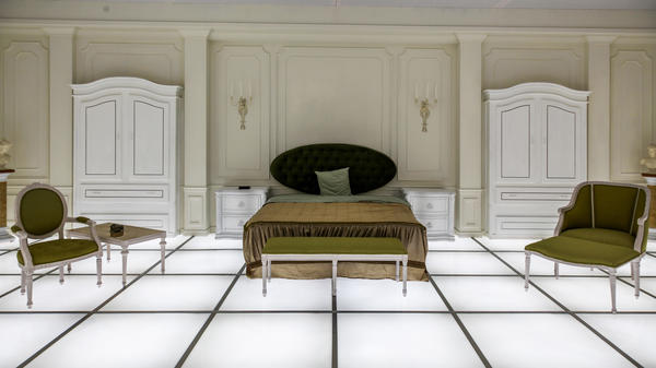 <em>The Barmecide Feast</em>, by Simon Birch and KplusK associates (which was co-founded by Paul Kember), recreates the bedroom from the final scene of Stanley Kubrick's <em>2001: A Space Odyssey</em>.
