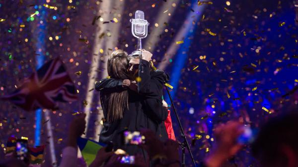 Eurovision's 2017 contest ended with Portugal's Salvador Sobral holding aloft his trophy and hugging his sister Luisa Sobral, who composed with 'Amar Pelos Dois,' the winning song. The pair performed it as a duet to close the evening.