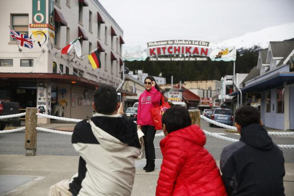 During the cruise ship season, tourists flood the streets of Ketchikan. The borough of Ketchikan is home to about 13,000 people. In just one day, Ketchikan may see 13,000 cruise ship visitors.