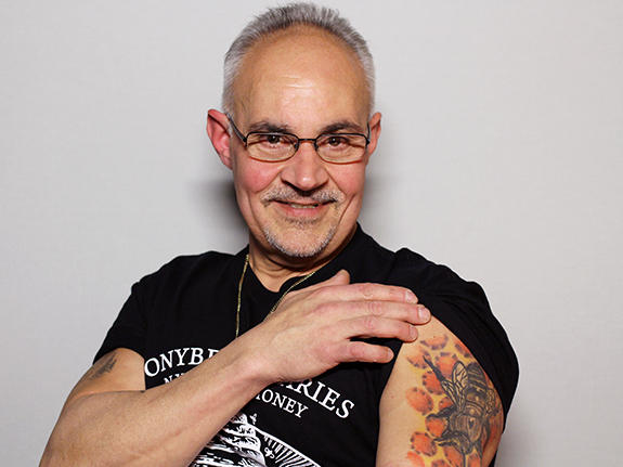 """Anthony """"Tony Bees"""" Planakis at StoryCorps in New York City. Planakis retired from the NYPD in 2014, but still takes calls about hives and swarms."""