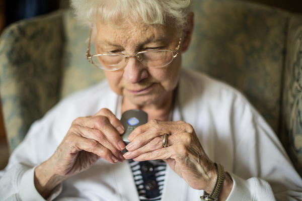 Evelyn Benjamin, Nancy's 84-year-old mother, wears a medical alert service device around her neck at all times.
