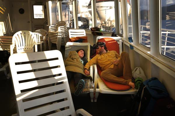 Catie Reed and Adam Summerfield in the solarium.