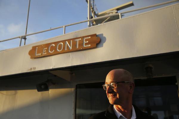 Captain Brian Flory poses for a portrait on the MV LeConte.