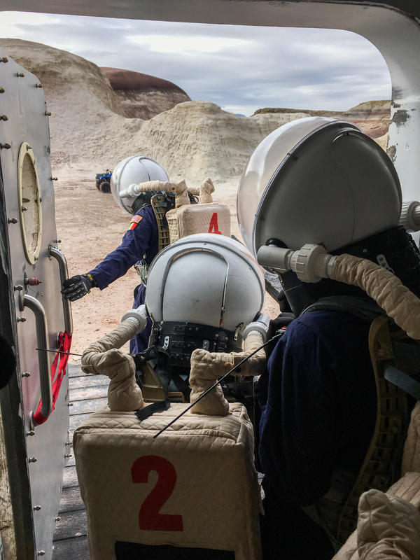 Crew members count to 60 before exiting the capsule, to simulate the depressurization time required if they were really on Mars.