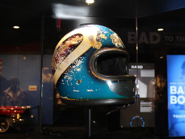 The helmet Knievel wore in his Caesars Palace jump attempt. The resulting crash film was shown over and over again, launching Evel's career.