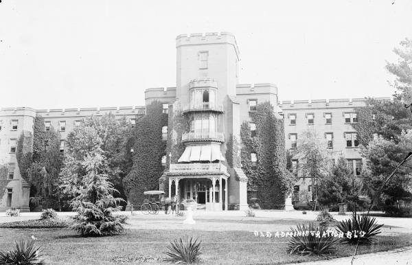 "The Center Building at St. Elizabeths, pictured circa 1900, housed administrative offices and patient wards. Established in 1855 as the Government Hospital for the Insane, the facility became widely known as ""St. Elizabeths"" during the Civil War, and took that name officially in 1916."