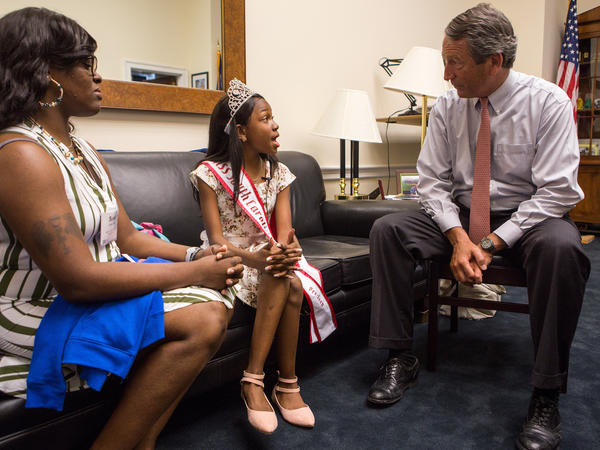 """Sanford, who opposed the House version of the health care bill, tells Tymia: """"I hear you loud and clear on the Medicaid front."""""""