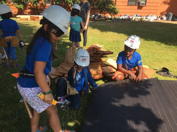 At the Girls Build summer camps in Oregon, Araceli Eide, Kandyce Brown and Aleeyah Coleman learn how to pour concrete, shingle sandbox roofs and use power tools, but instructors say the real skills these young girls gain are increased confidence and fearlessness.