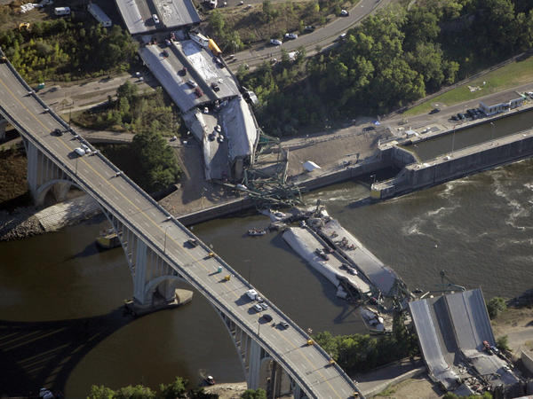 The collapsed 35W bridge in Minneapolis seen on August 2, 2007.